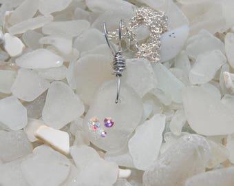 White Sea Glass with Rhinestone Trio Necklace