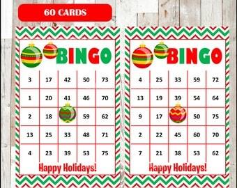 Christmas Bingo Printable Game - 60 different Cards - Christmas Game - Party Game Printable - INSTANT DOWNLOAD