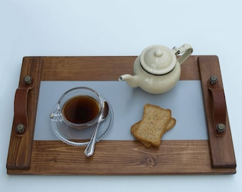 Wooden Tray, Serving Tray, Coffee Serving Tray, Leather Handles, Metal Handles, Decor, Art, Handpainted, Handmade