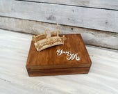 personalized wedding ring box, bridal, retro, vintage, wedding ring, 3d couple, wooden box