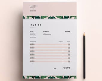 Invoice Template, Business Invoice Spreadsheet, Google Sheets + Excel Invoice, Freelance Invoice Design, Business Template Download