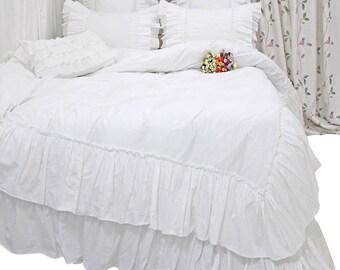 White Bedding White Ruffles Duvet Cover Bed Set