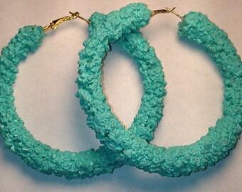 Mint crystal hoop earrings