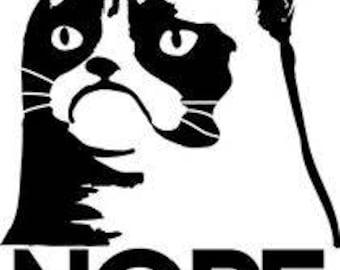 Grumpy Cat ( Nope Design ) vinyl decal (car/truck laptop/netbook window yeti)