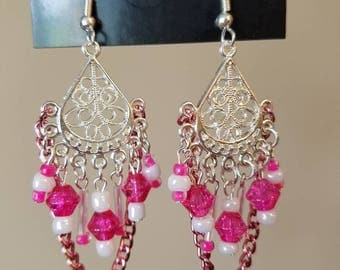 Pink Chain Chandelier Earrings