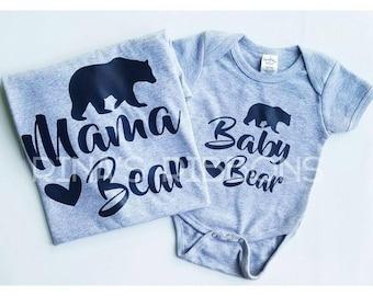 Mama Bear Baby Bear T-Shirt One-piece Set