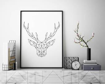 Geometric deer print. Abstract modern wall decor. Printable minimalist art. Digital downloud print.