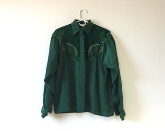 80s Western Silky Shirt Beaded with Suede Top M/L