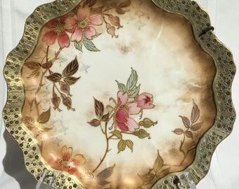 Doulton Burslem - Scalloped, Gold Trim Plate c838 - Signed -  Registered 1884-1888