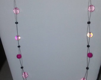 ON SALE! Pink glass bead floating illusion necklace
