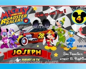 Invitation Mickey and the Roadster racer . Aventura sobre ruedas. CandyBar