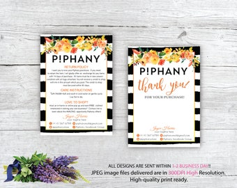 Piphany Care Instruction Card, Piphany Thank You Card, Custom Piphany Marketing, Personalized Marketing Kit PP08