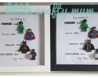 Personalised superhero daddy lego frame - Lego Minifigures - Fathers Day - Birthday, Christmas Gift - Superhero Wall Art