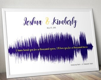 Custom Soundwave Wedding Colors First Dance Poster Gift Audiophile