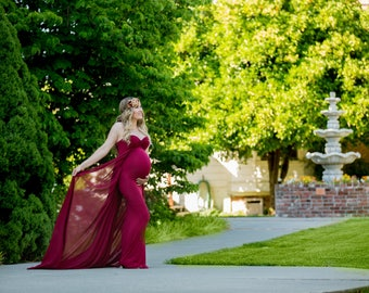 Maternity Gown ~ Fitted Maxi Gown ~ Long Maternity Gown ~ Maxi Dress ~ Maternity Dress For Photo Shoot ~ Chiffon Skirt ~ JULIETA