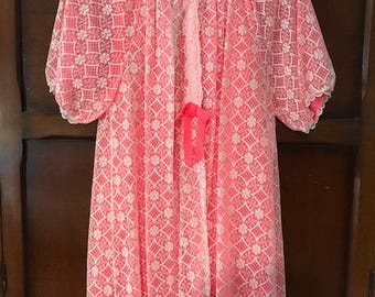 Rich Pink-Red Vintage Nightie Set with White Lace Overlay on Robe