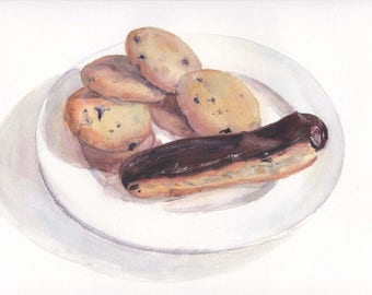 Original watercolor still life with glazed eclair and cookies / Birthday gift / Realistic food art / Chocolate eclair / Pastry wall decor