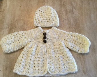 Crochet baby girl sweater and hat set(3/6 month) off white
