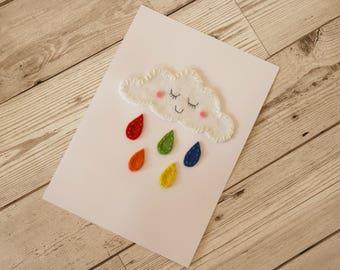Cloud felt art / Cloud print / Rainbow print / Nursery decor / Baby shower gift