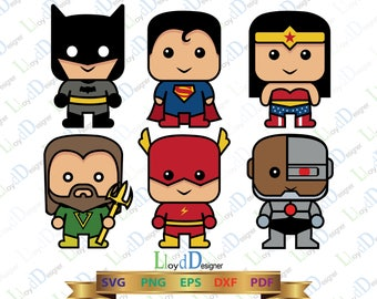 Justice League SVG Cute Justice league clipart Batman svg Wonder woman svg Superman svg Flash svg Superhero svg Super hero svg png eps dxf
