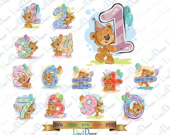 Birthday Numbers svg Birthday Candle Teddy Bears Clipart Number with Teddy Birthday svg eps png cut file For Print Silhouette Studio Cricut