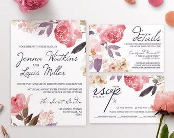 Floral Print Wedding Invitations - PRINT AT HOME - Digital File
