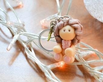 Polymer clay doll keychain