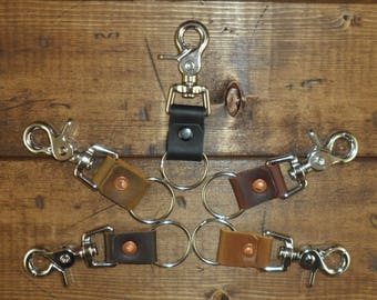 Basic Key Chain made from scrap Saddleback Leather Swivel Trigger Snap Key Ring Key Fob Handmade Choose Your Color