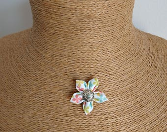 Original fabric Flower necklace