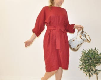Linen dress Warm linen loose fitting dress oversized loose fitting dress Drop Shoulder long sleeves tunic XL XXL Puss Size Soft handmade