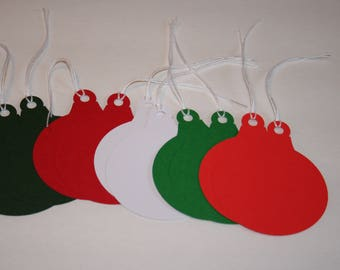 Christmas Ornament Gift Tags, Christmas Gift Tags, Holiday Gift Tags, Red Green & White Gift Tags, Set of 10 Gift Tags, Christmas Tags