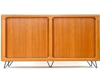 Mid century Danish Modern Tambour  Door Teak Credenza
