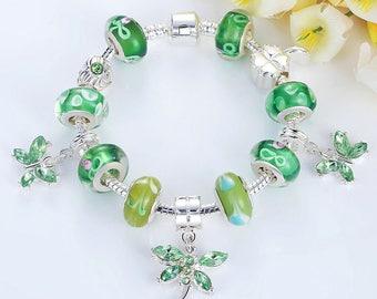 Green Butterfly Sterling Silver Charm Bracelet