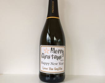 Christmas personalised wine/champagne/prosecco bottle sticker. Ideal Christmas gift. Merry Christmas & a Happy New Year
