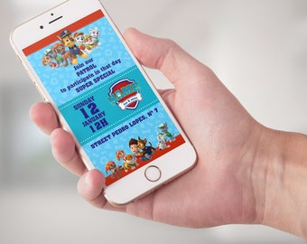 Paw Patrol Invitation Digital mobile