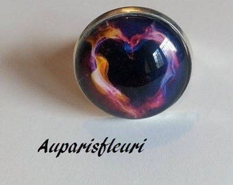 silver plated Adjustable ring * flaming heart *.