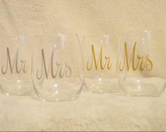Mr and Mrs Stemless Wine Glasses (Birthday, Wedding, Bridal Shower, Baby Shower, Party)