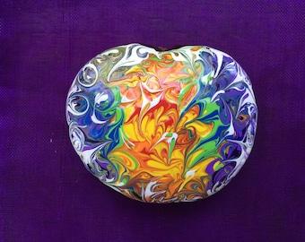 Sea Heart, Hand Painted, Energy Art, Chakras, Meditation, Lucky Bean, Sea Bean, Collectible Art, One of a Kind