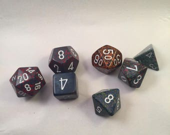 One-of-a-Kind Polyhedral Dice Set: Volcanic Rock