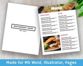 Restaurant Menu - Instant Digital Download, Menu File Ai, Food Menu, Wedding Menu, Modern Menu, Printable Menu, Easy to Change Template