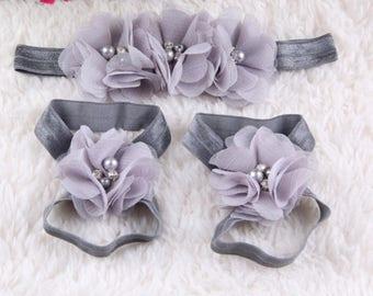 Baby Headband & Barefoot Sandals (Set)