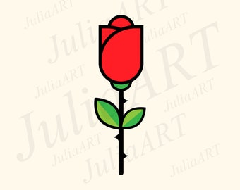 cartoon red rose