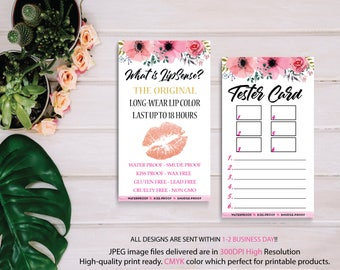 LipSense Tester Card, What is LipSense, LipSense Wish List, Senegence Tester Card, Lipstick Tester Sheet, Digital Files, Instant Download