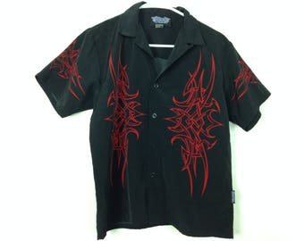 Red on black tribal button-up