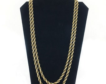 Monet Long Rope Chain Necklace, Gold Rope Chain Necklace, Gold Tone, 56 Inches, Vintage, 1970s