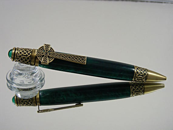 Celtic Ink Pen in Antique Brass and Emerald Green Acrylic