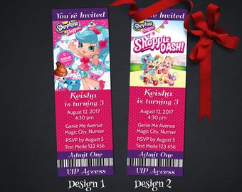 Personalized Shopkins Shoppies Jessicake Popette Birthday Party VIP Ticket Invitation Access Pass Invite Printable DIY - Digital File