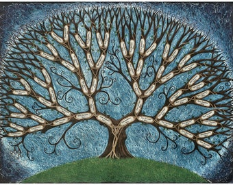 Hilltop Tree family tree chart - Blank or filled in for you from your own research (see  options)