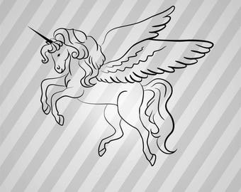 Winged Unicorn Line Art - Svg Dxf Eps Silhouette Rld Rdworks Pdf Png Ai Files Digital Cut Vector File Svg File Cricut Laser Cut