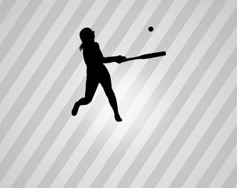 Baseball Silhouette Softball Player - Svg Dxf Eps Silhouette Rld RDWorks Pdf Png AI Files Digital Cut Vector File Svg File Cricut Laser Cut